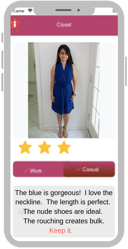image of smart phone app showing well accessorized young woman n in blue dress