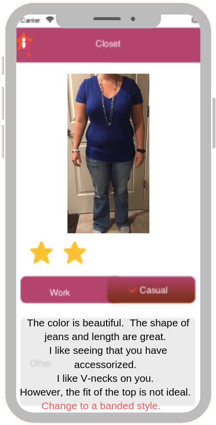 image of smart phone app showing well dressed woman in blue top and gray slacks