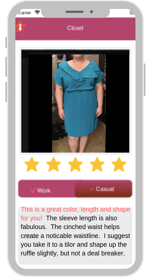 image of smart phone app showing attractively dressed woman in blue dress