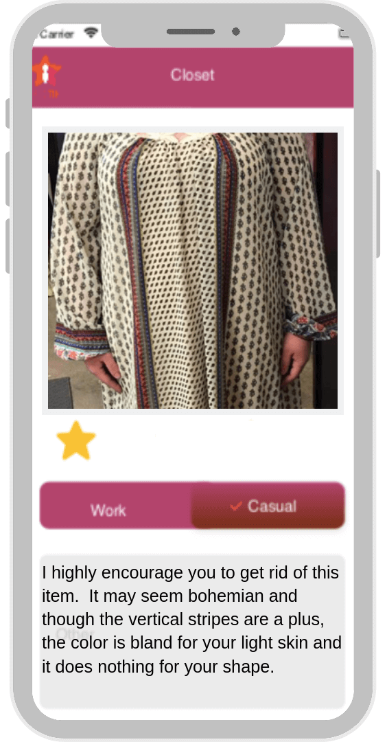 image of smart phone app showing attractive young woman in striped blouse