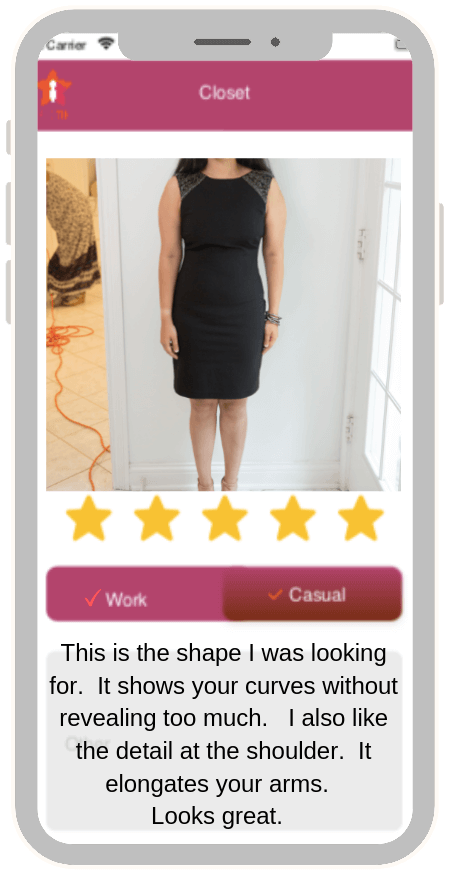 image of smart phone app showing stylishly dressed woman in little black dress