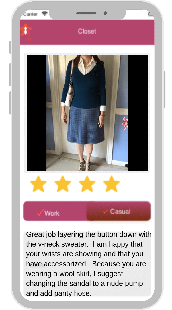 image of smart phone app showing attractively dressed woman in blue skirt and navy blue sweater top