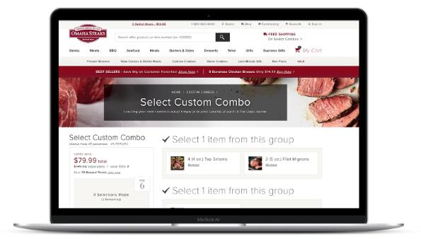 screen cap of Omaha Steaks websites