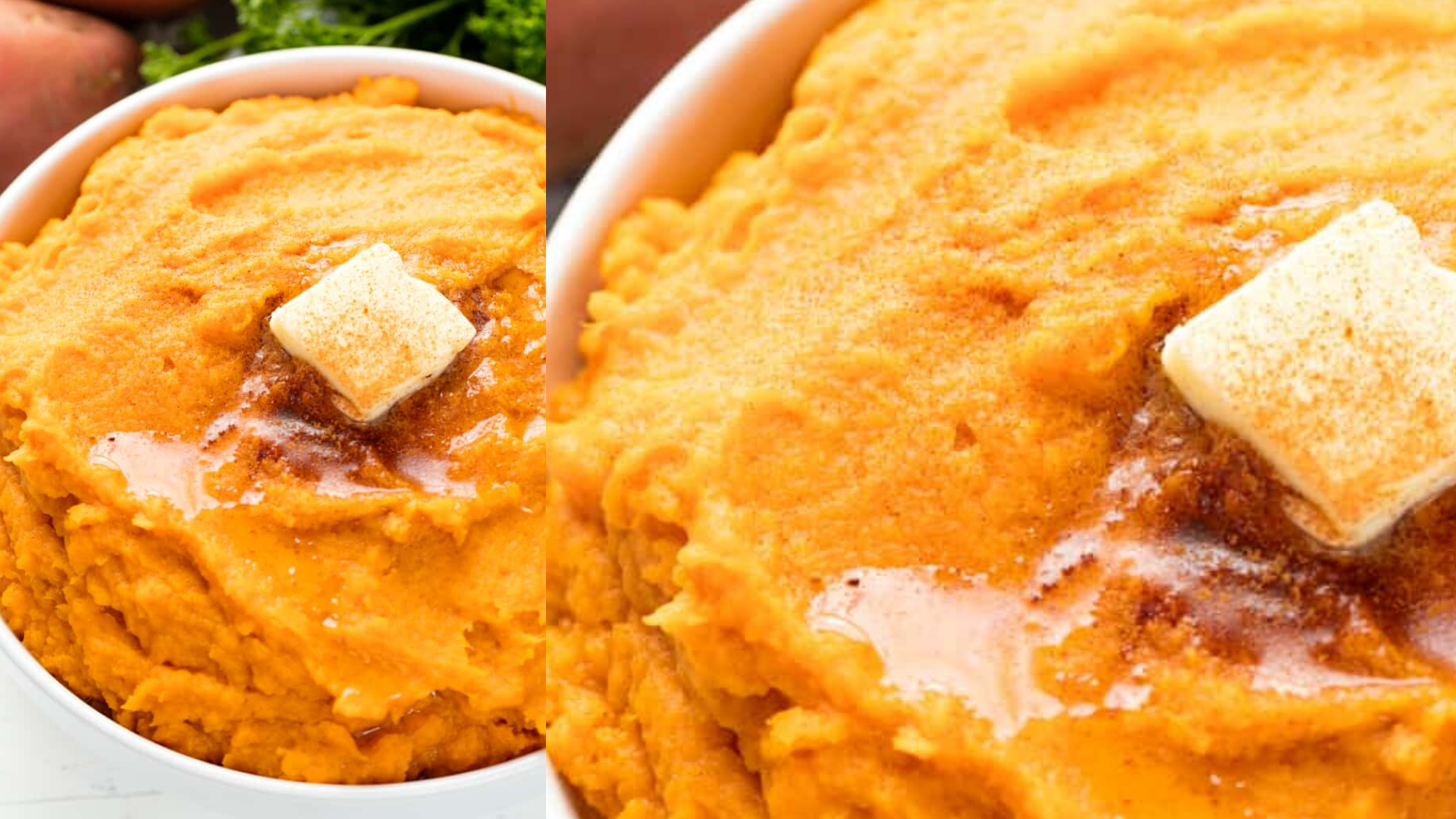 Cinnamon Honey Butter Mashed Sweet Potatoes