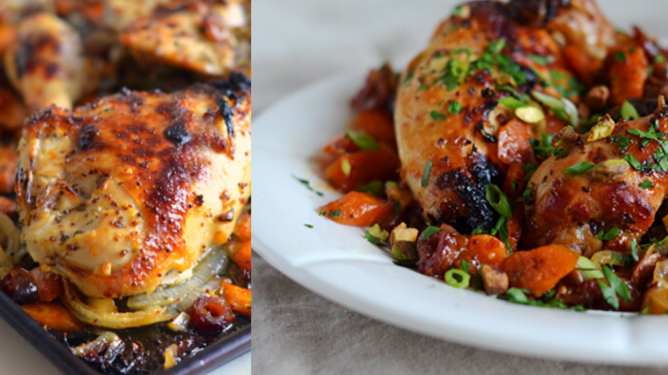 Sweet & Spicy Roast Chicken with Carrots, Dates & Pistachios (Once Upon a Chef)