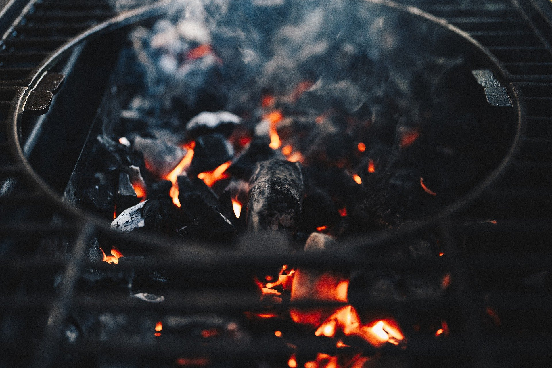 image of charcoal in charcoal smoker