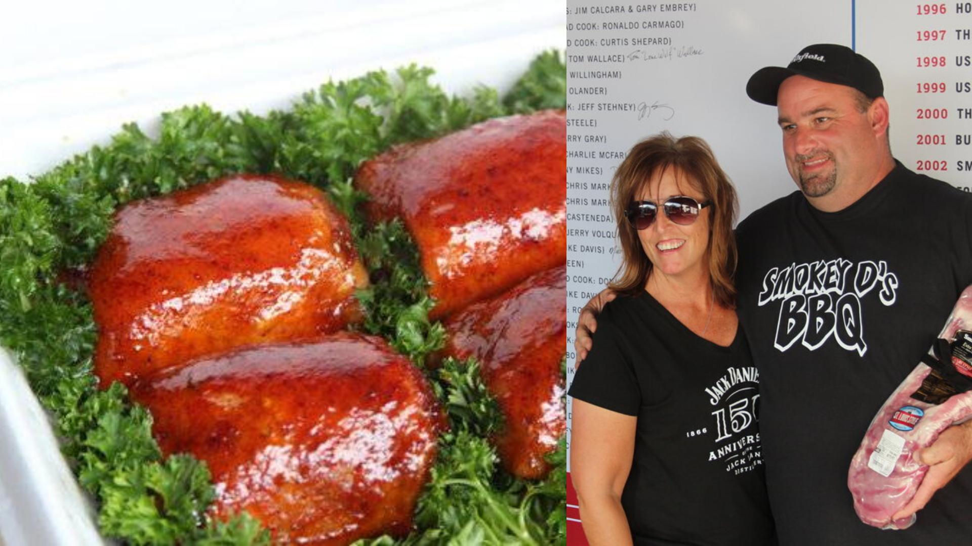 picture of Darren & Sherry Warth (Iowa's Smokey D) beside bbq chicken recipe