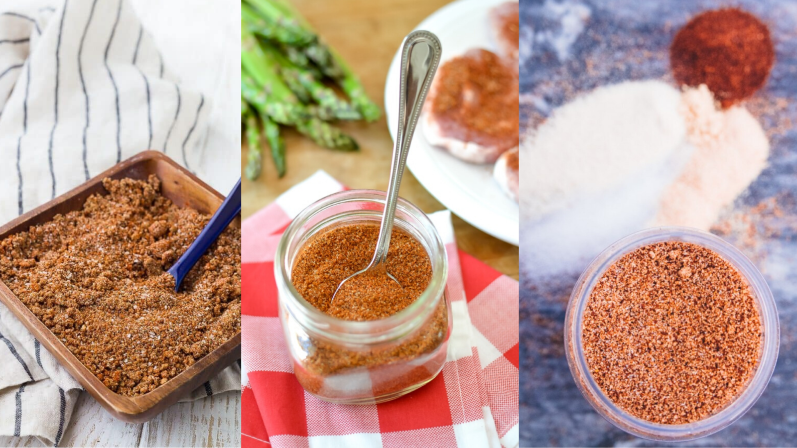 image of three easy to make bbq rub recipes
