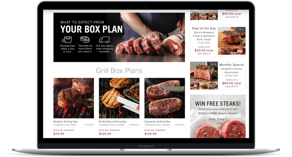 image of omaha steak's box plans online
