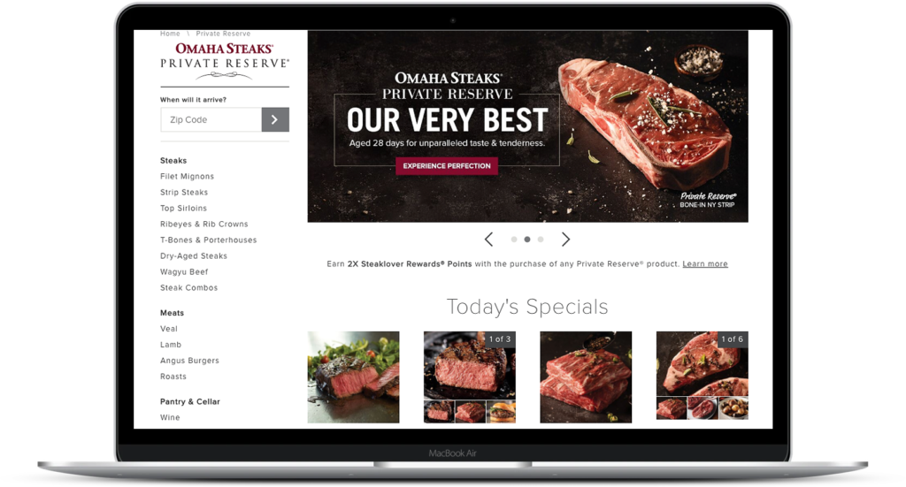 image of omaha steaks private reserve online