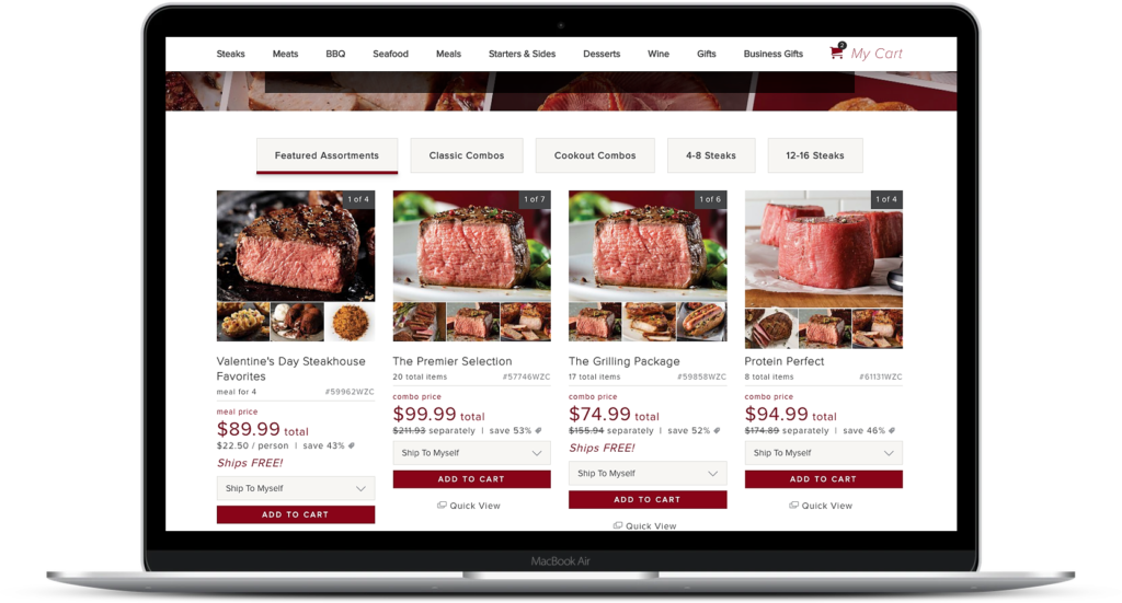image of variety of meat on omaha steaks website