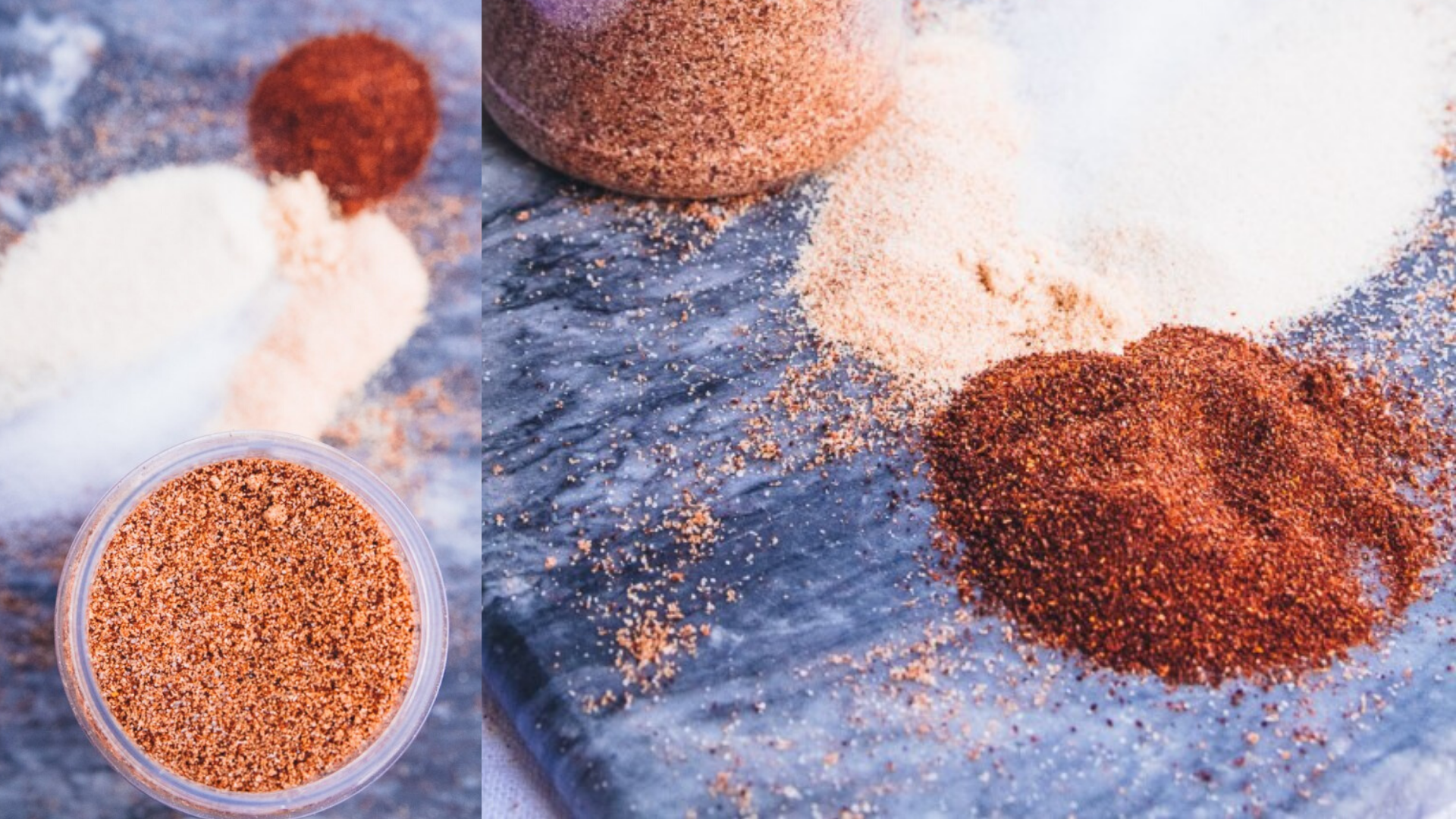 image of texas style dry rub recipe in jaw with piles of spices