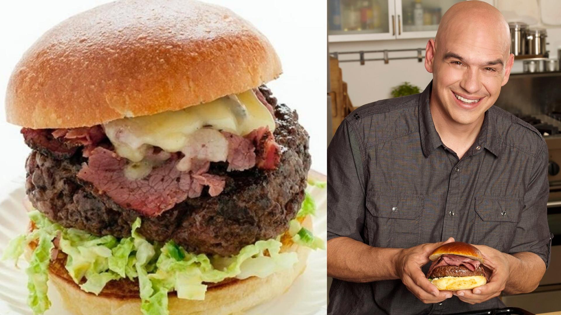 picture of michael symon beside award winning burger recipe the fat doug