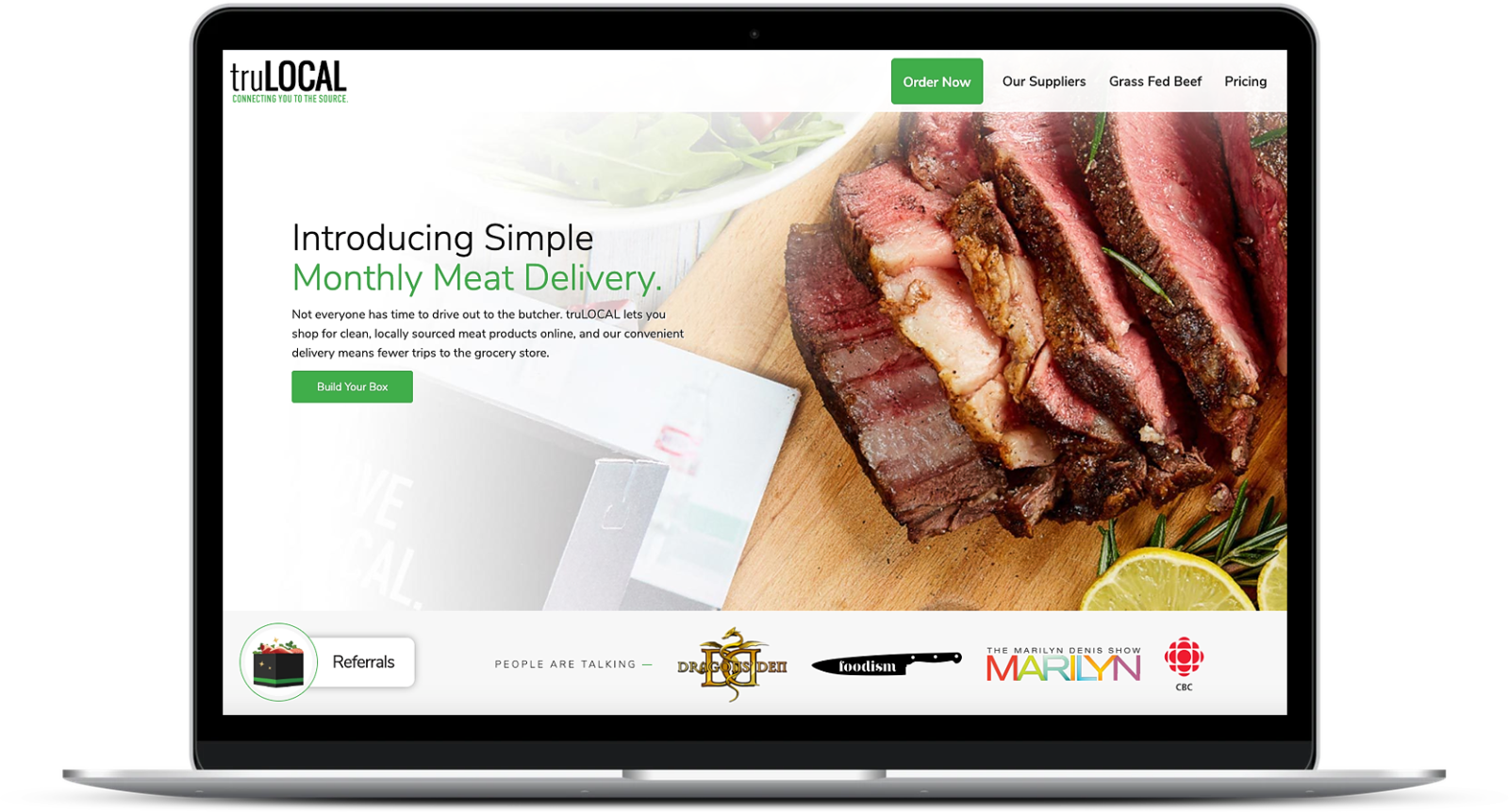 picture of tru local's meat delivery services online homepage