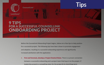 9 Tips For a Successful CounselLink Onboarding Project