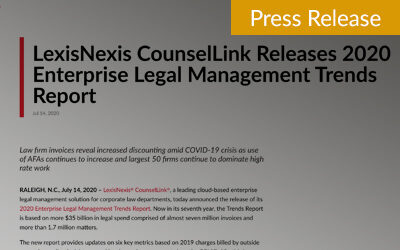 LexisNexis CounselLink Releases 2020 Enterprise Legal Management Trends Report