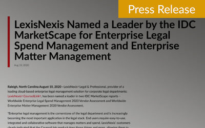 LexisNexis Named a Leader by the IDC MarketScape for Enterprise Legal Spend Management and Enterprise Matter Management