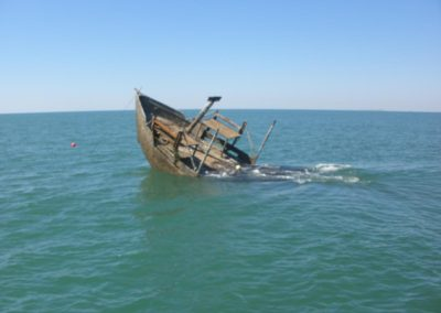 Oyster Boat being sunk for artificial reef