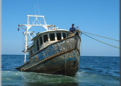 A shrimping vessel was donated to serve as an artificial reef