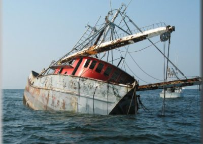The Tiger Shark shrimp boat being sunk