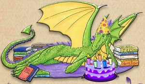 Blogoversary_Bookwyrm-with-cake-and-hat