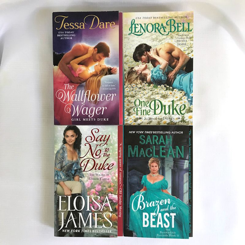 4 historical romance covers: The Wallflower Wager by Tessa Dare, One Fine Duke by Lenora Bell, Say No to the Duke by Eloisa James, and Brazen and the Beast by Sarah MacLean