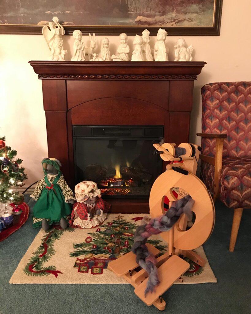 Christmas decor and spinning wheel