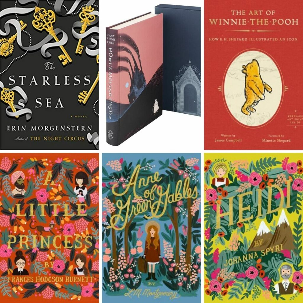 Books I Want Under the Tree: The Starless Sea, Howl's Moving Castle, The Art of Winnie the Pooh, A Little Princess, Anne of Green Gables, Heidi