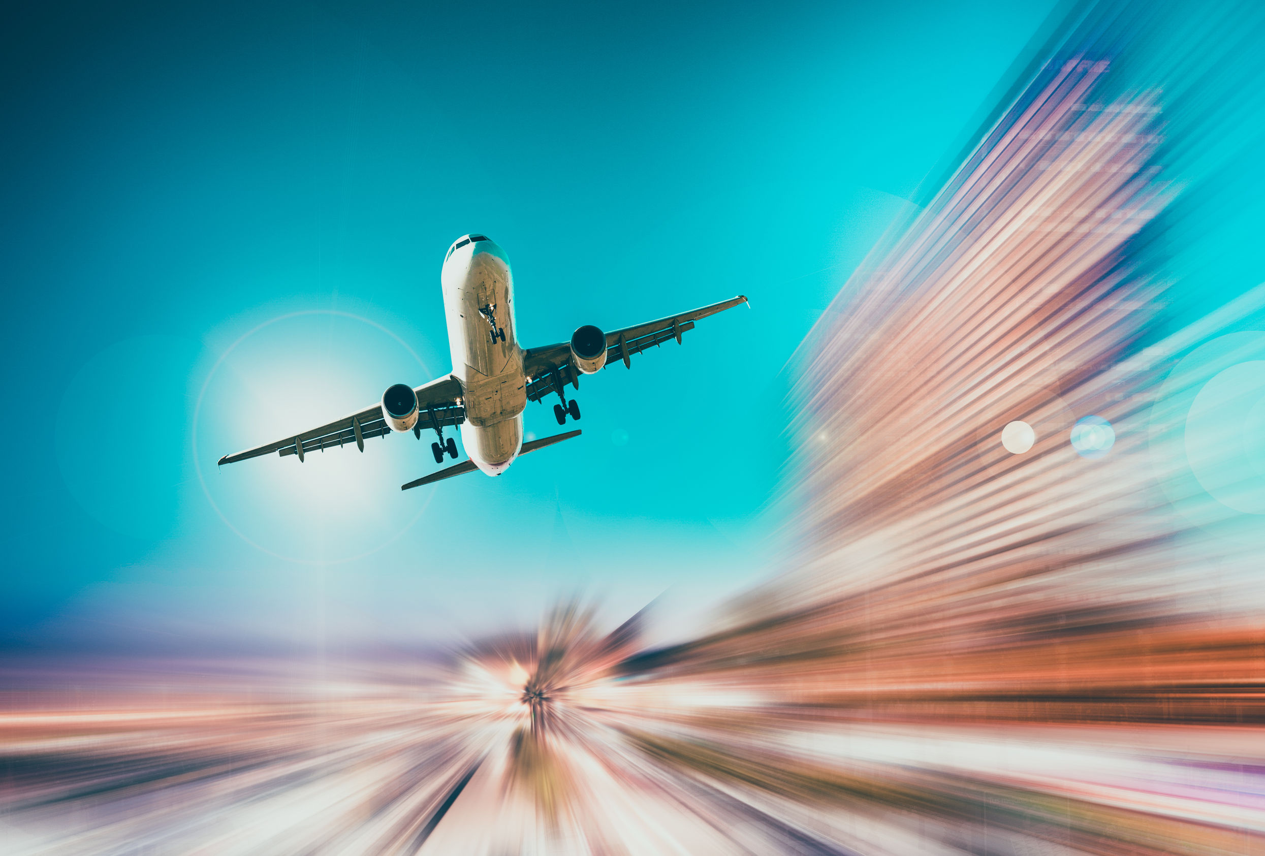 airliner in motion on background of high speed traveling in sky