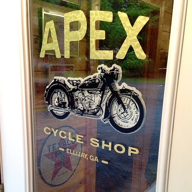 New shop door signage with gold leaf lettering and layered bike image. Yay!!