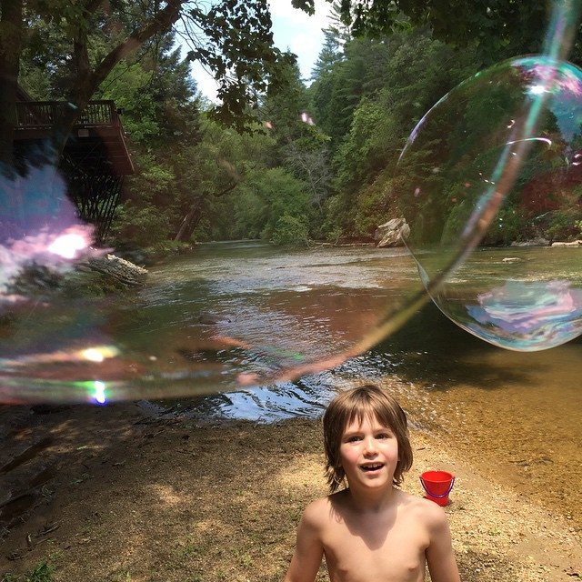 River day with my best bud... Love that kid!!! #steppinupourbubblegame #dadlife