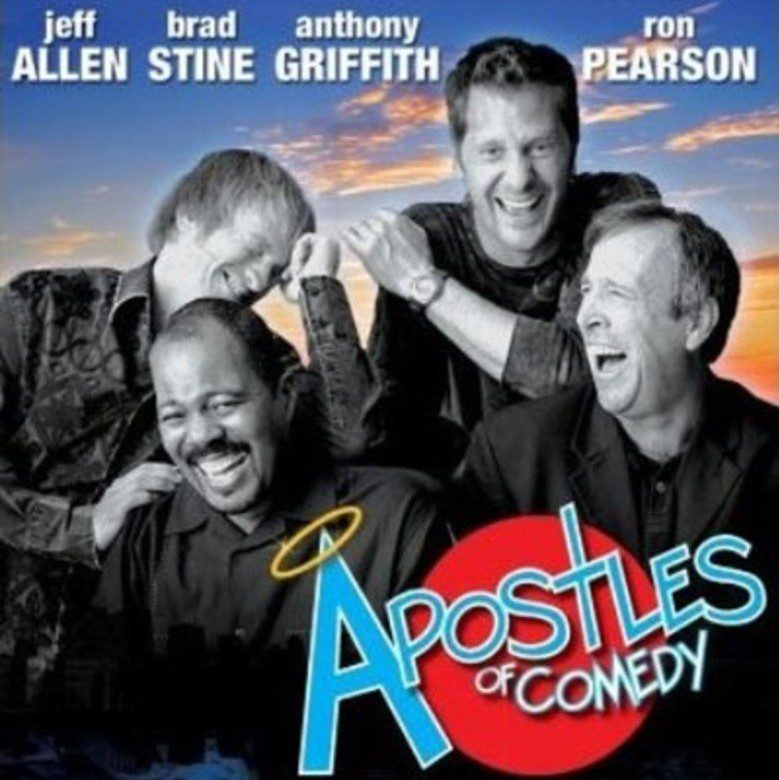 The four cast members of Apostles of Comedy, laughing