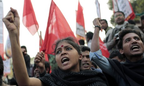 A protest in Dhaka, Bangladesh, against attacks targeting Hindus following a violent election day