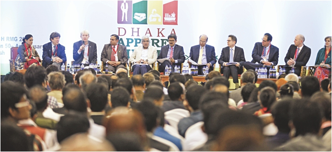 Sixth from left, Shahriar Alam, state minister for foreign affairs, attends a discussion on responsible buying and better productivity at Dhaka Apparel Summit at Bangabandhu International Conference Centre in the capital. Photo: Star
