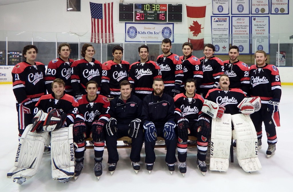 The 2015-2016 Catholic University Ice Hockey Team Courtesy of Dean Mazur