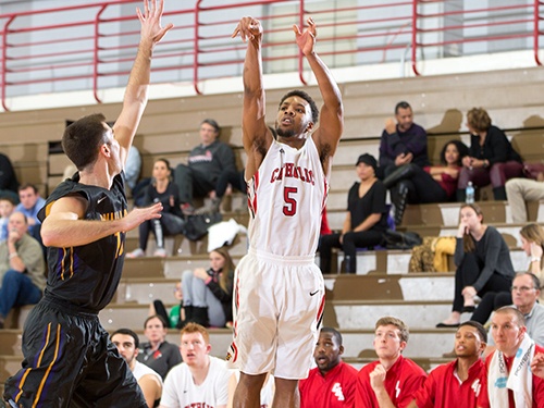 Bryson Fonville shoots one of his 4 made 3-pointers in the win over Susquehanna. Courtesy of cuacardinals.com