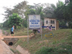 The sign in front of our school in Mampong