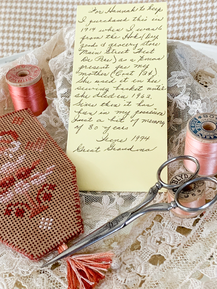 Passing down Heirlooms a written note