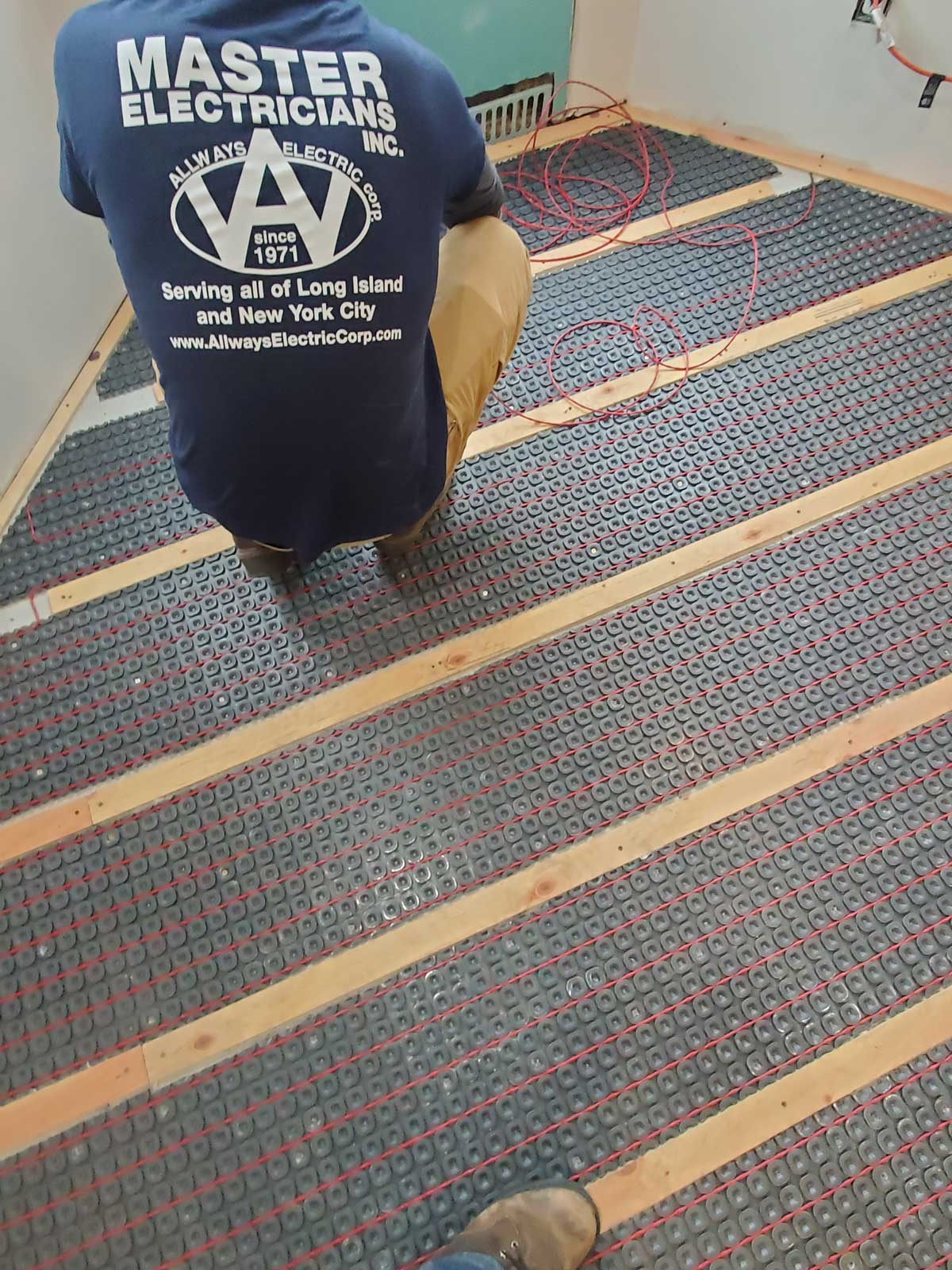 Electric Heat Mat Installation under floor in Bathroom in Westhampton NY