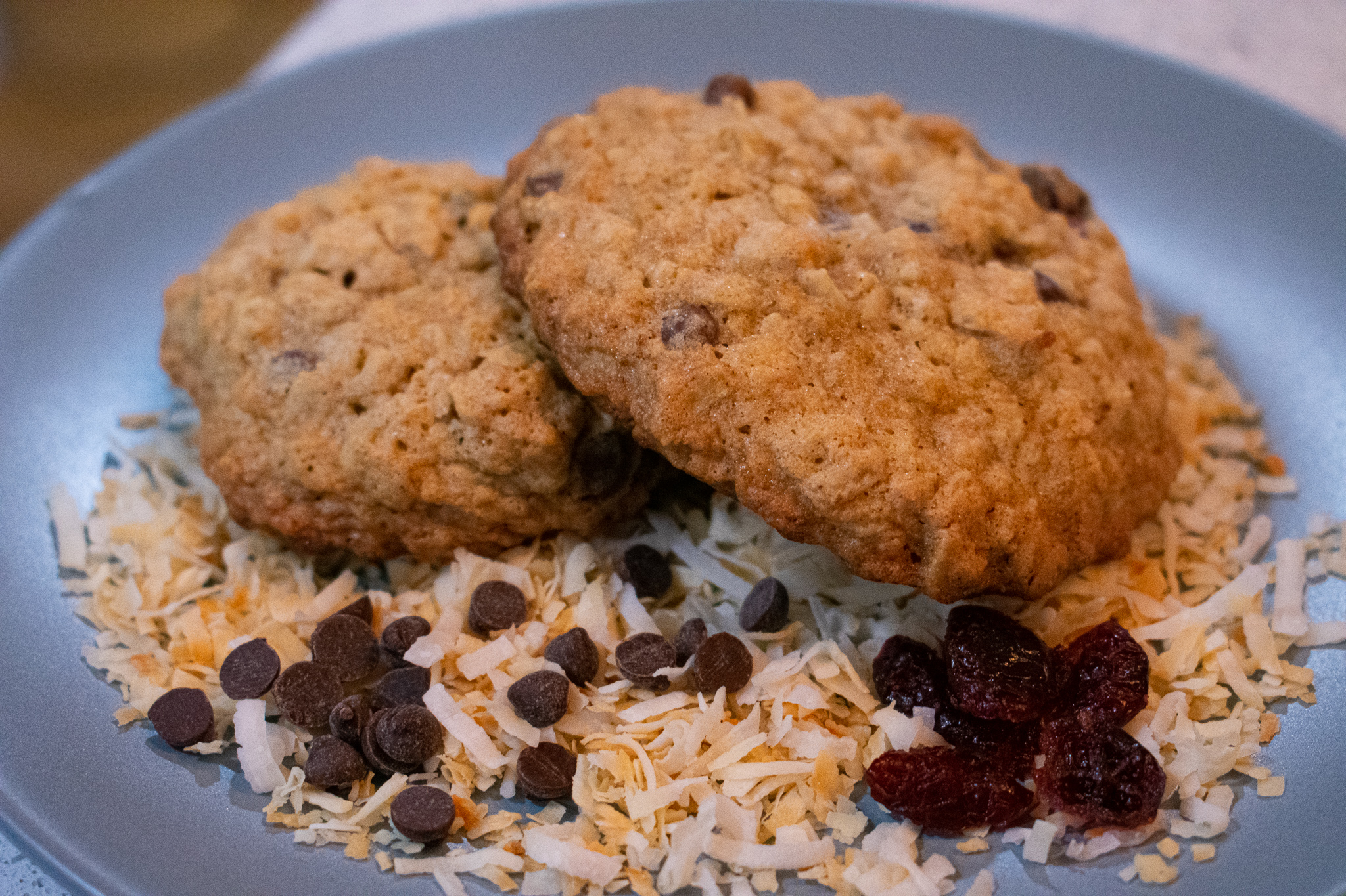 oatmeal cookies with toasted coconut, craisins, and chocolate chips
