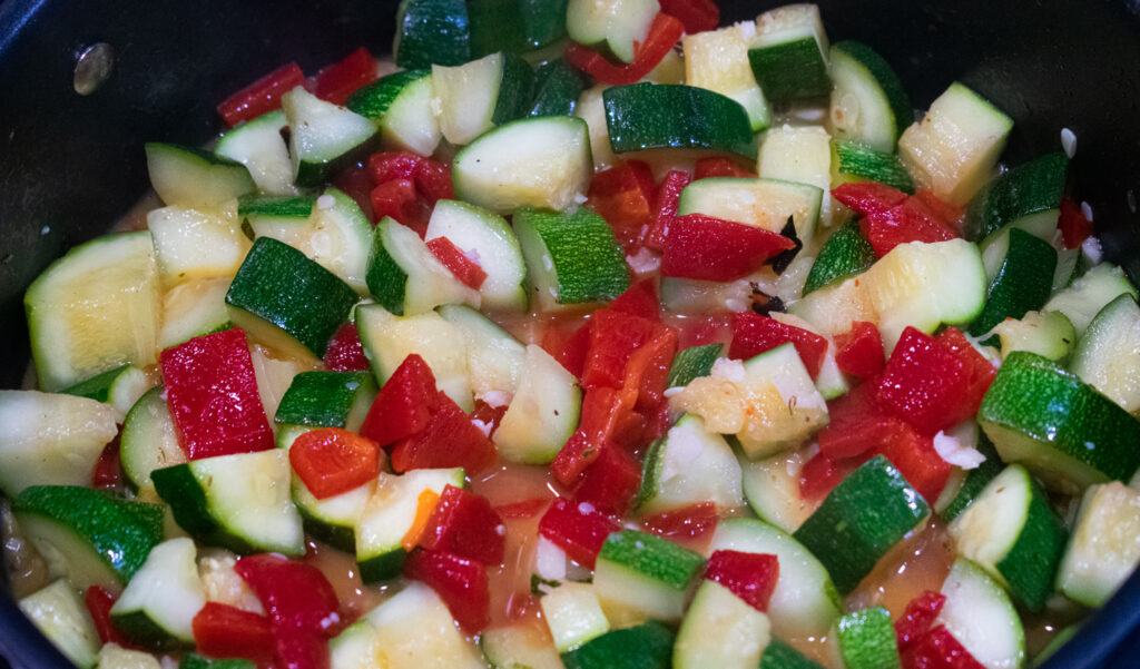 zucchini and roasted peppers