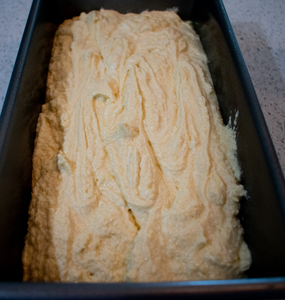 gluten free lemon pound cake batter in pan