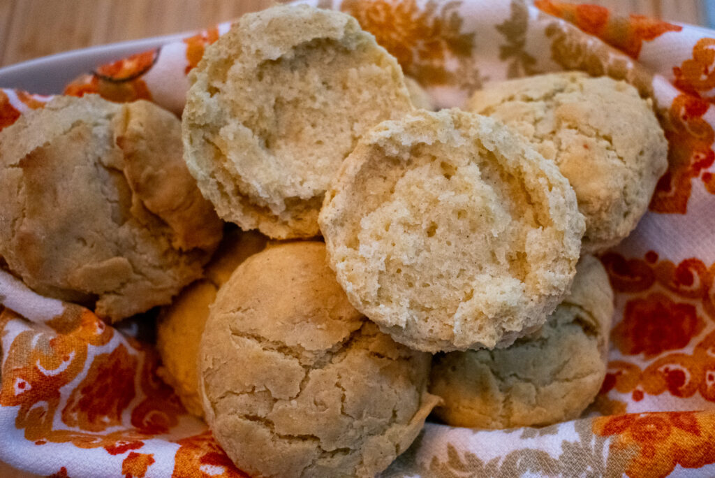 close up of baked gluten free biscuit
