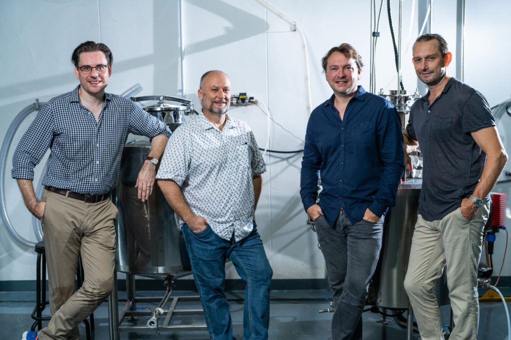 Tanglin Gin founders and creators, from left to right: Andy Hodgson, Tim Whitefield, Charlie van Eeden and Chris Box
