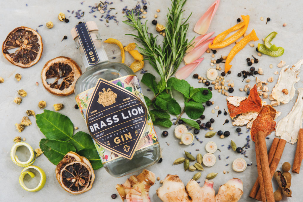 Brass Lion gin and ingredients