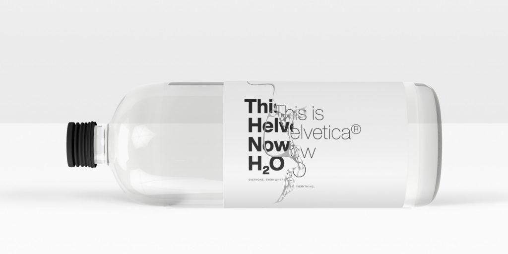 Halvetica Now typeface on water bottle