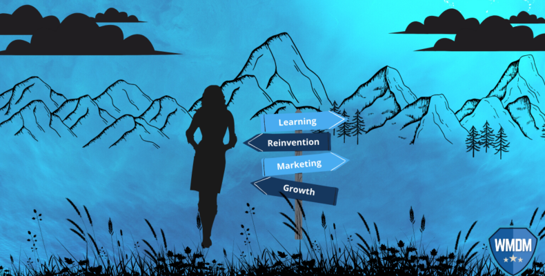Marketing Agency - Blue background with mountains and woman standing by direction signs.