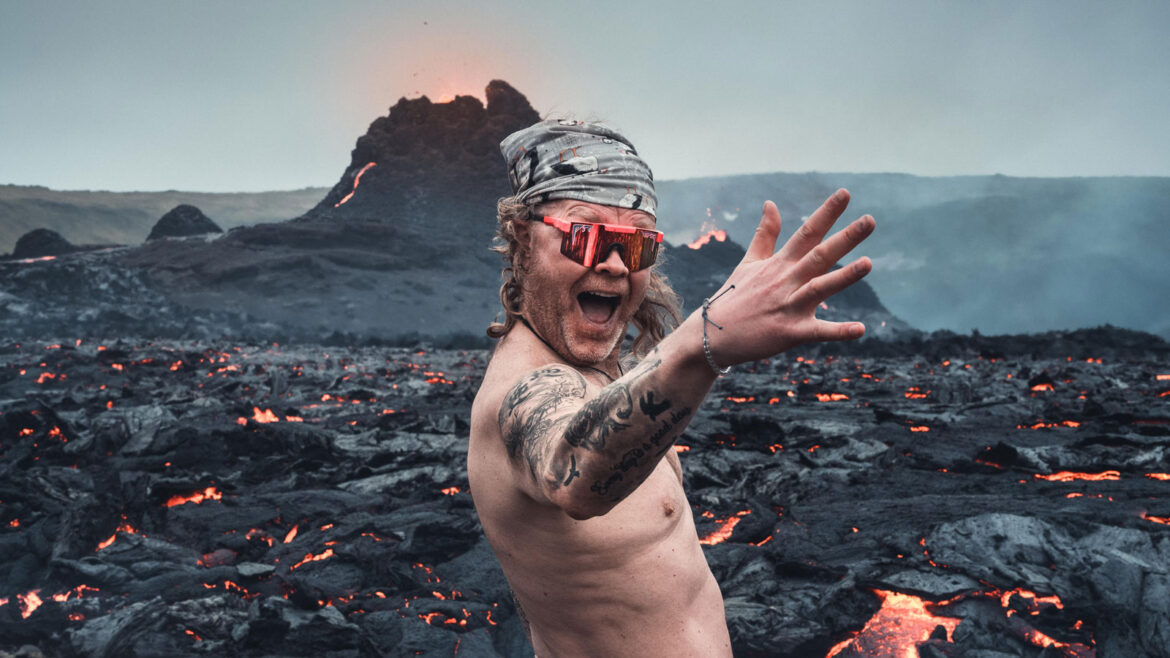 Icelandic Man Gets Naked Next to Erupting Volcano