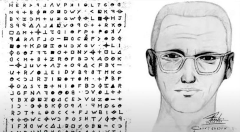 Sketch Of Zodiac Killer Next To His Cipher