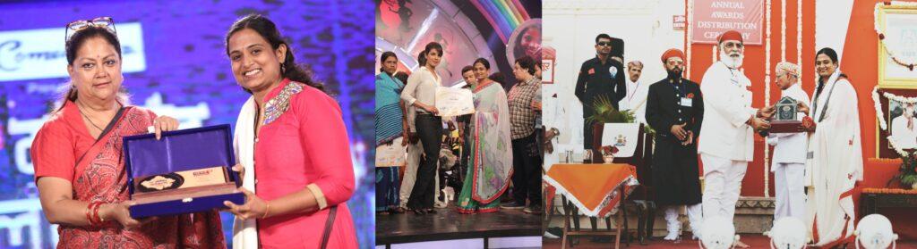Dr. Kriti Bharti receiving the Channel News18 Marwar Alankaran